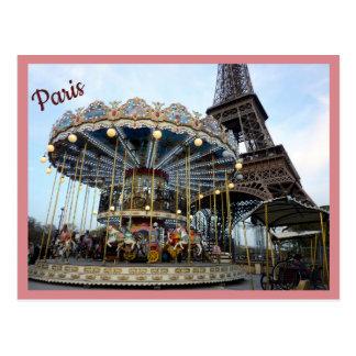 Cartão Postal Carrossel de Paris (& torre Eiffel) com texto
