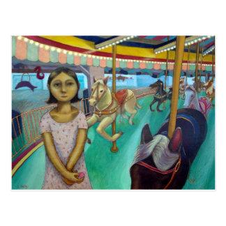 Cartão Postal Carrossel - pintura original por Lora Shelley