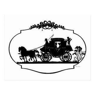 Cartão Postal Carruagem romântica Sillhouette