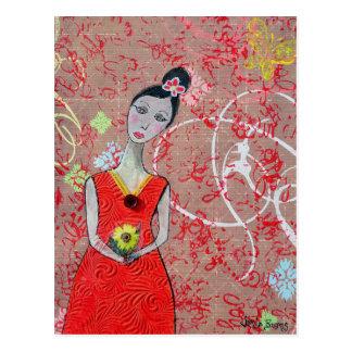 Cartão Postal Cartão: Adeline no vestido vermelho