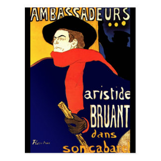 Cartão Postal Cartão: Aristide Bruant por Toulouse-Lautrec