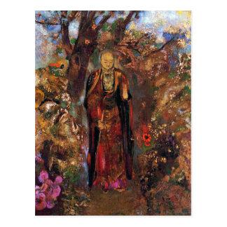 Cartão Postal Cartão:  Buddha que anda entre as flores