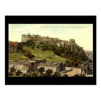 Cartão Postal Cartão, castelo de Edimburgo & National Gallery