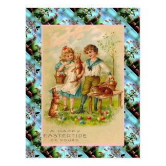 Cartão Postal Cartão, crianças e ovos de páscoa do vintage da
