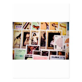 Cartão Postal Cartão, Cuba, selos postais do vintage, porte