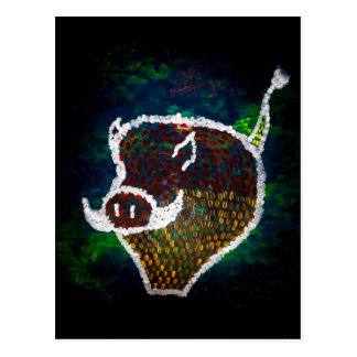 """Cartão Postal """"Cartão da arte de JTG do porco manchado"""""""