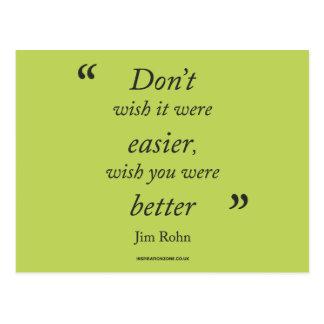 """Cartão Postal """"Cartão das citações inspiradores de Jim Rohn"""""""