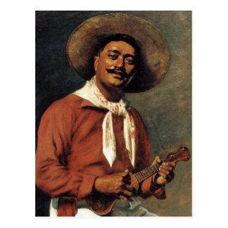 """Cartão Postal """"Cartão de Hubert Vos do trovador havaiano"""" -"""