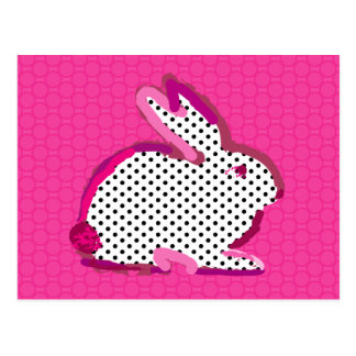 """Cartão Postal """"cartão digital da pintura do coelho cor-de-rosa"""""""
