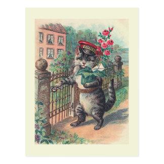 """Cartão Postal """"Cartão do gato do vintage do carteiro"""""""
