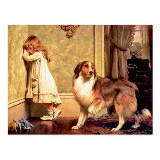 Cartão Postal Cartão: Menina com animal de estimação Sheltie
