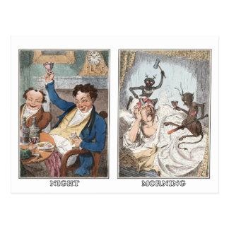 Cartão Postal Cartão:  Noite - manhã - caricatura antiga