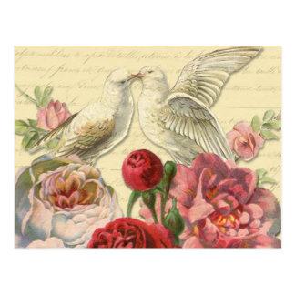Cartão Postal Cartão: Pombas do vintage com rosas