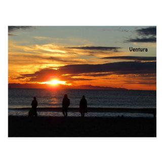 Cartão Postal Cartão: Por do sol na praia de Ventura, Califórnia