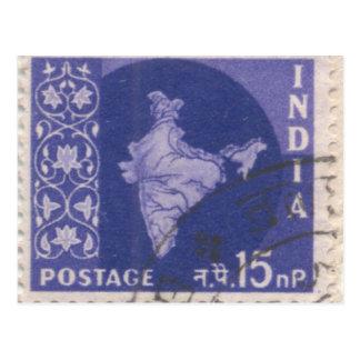 Cartão Postal Cartão: Porte postal indiano cancelado