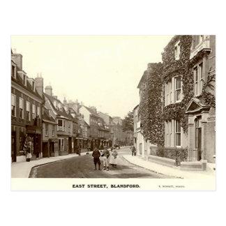 Cartão Postal Cartão, rua do leste, fórum de Blandford, Dorset