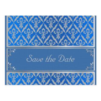 Cartão Postal Cartão--Salvar a luz de Fleur da data - azul