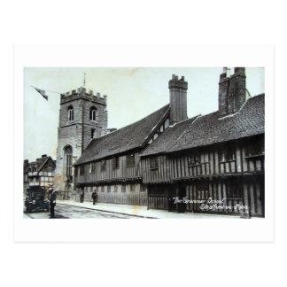 Cartão Postal Cartão, Stratford-em cima-Avon, escola secundária
