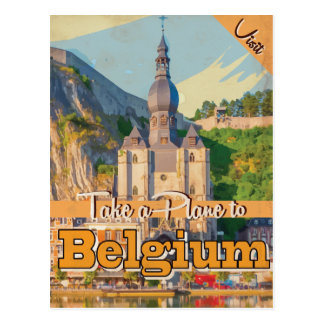 Cartão Postal Cartaz das viagens vintage de Bélgica