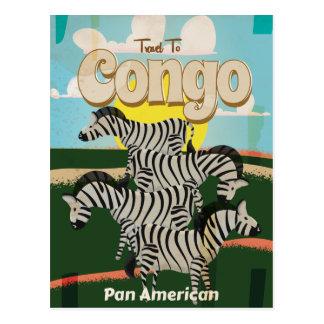 Cartão Postal Cartaz das viagens vintage de Congo