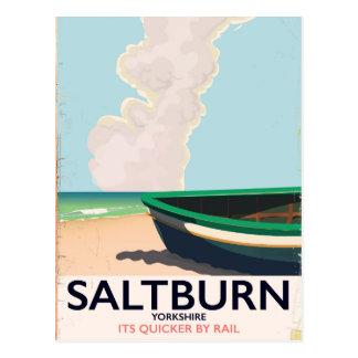 Cartão Postal Cartaz das viagens vintage de Saltburn - de