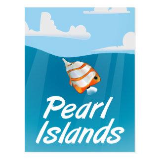 Cartão Postal Cartaz tropical do viagem das ilhas da pérola