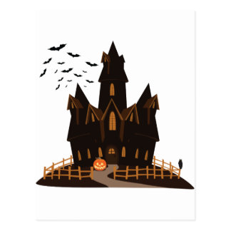 Cartão Postal Casa assombrada o Dia das Bruxas feliz
