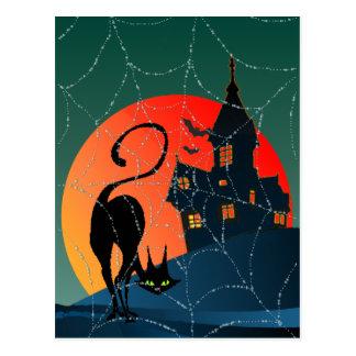 Cartão Postal CASA ASSOMBRADA, WEB & CAT por SHARON SHARPE