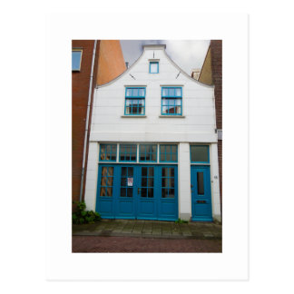 Cartão Postal Casa branca e azul da fotografia holandesa