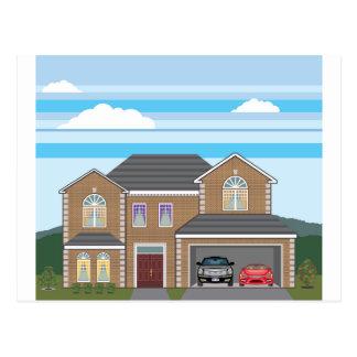 Cartão Postal Casa com garagem aberta. 2 carros