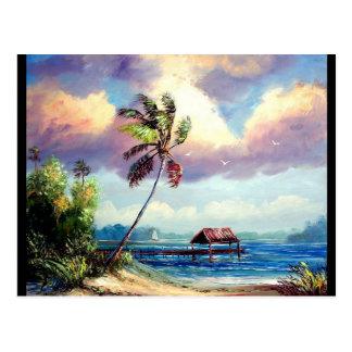 Cartão Postal Casa de barco tropical