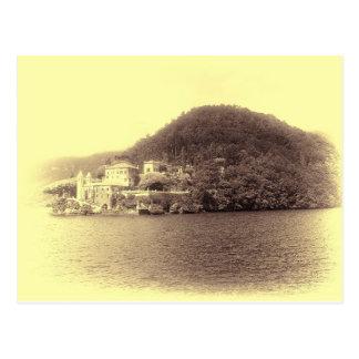 Cartão Postal Casa de campo Balbianello de Como do lago