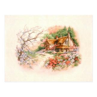 Cartão Postal Casa de campo do país com flores