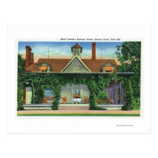 Cartão Postal Casa de verão de Mark Twain, fazenda da pedreira