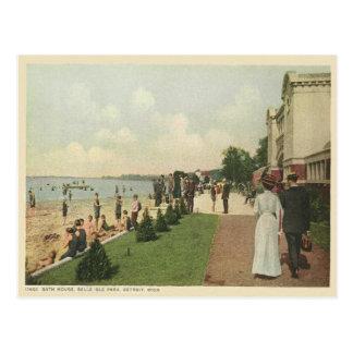 Cartão Postal Casa do banho de Detroit do vintage