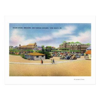 Cartão Postal Casa do oceano, disjuntores, e terras do