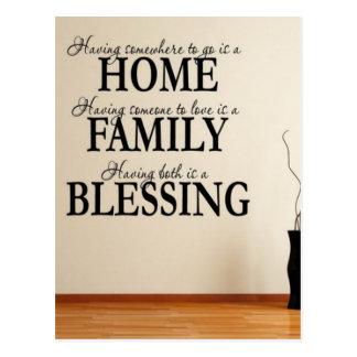 Cartão Postal Casa + Família = bênção