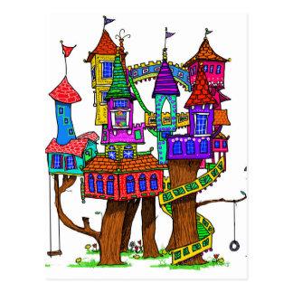 Cartão Postal Casa na árvore da fantasia