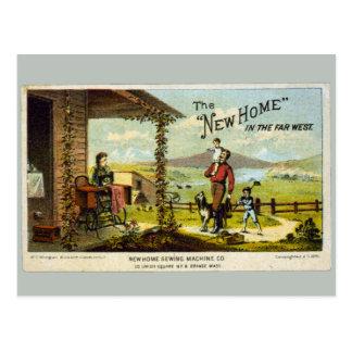 Cartão Postal Casa nova com máquina de costura