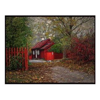 Cartão Postal Casa pequena vermelha