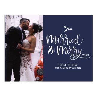 Cartão Postal Casado e alegre, Natal, azul marinho, roteiro