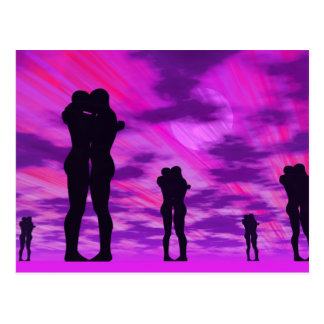 Cartão Postal Casais no amor - 3D rendem