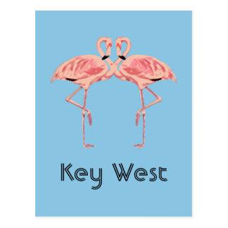Cartão Postal Casal cor-de-rosa do flamingo de Key West Florida