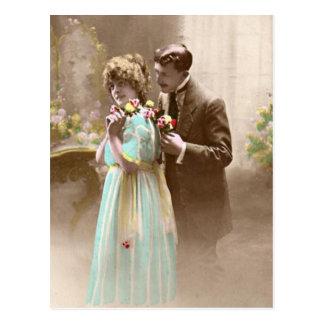 Cartão Postal Casal dos namorados do vintage