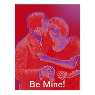 Cartão Postal Casal dos namorados do vintage no vermelho