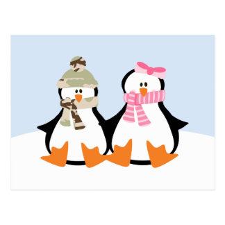 Cartão Postal Casal militar do pinguim