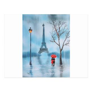 Cartão Postal Casal na pintura de Paris da torre Eiffel
