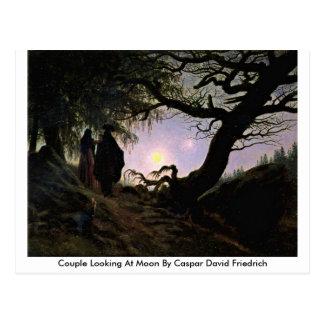 Cartão Postal Casal que olha a lua por Caspar David Friedrich
