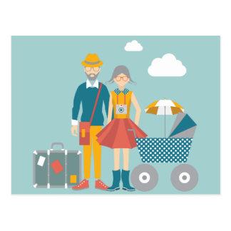Cartão Postal Casal que viaja com carruagem de bebê