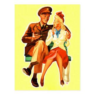 Cartão Postal Casal romântico romance da solda militar do
